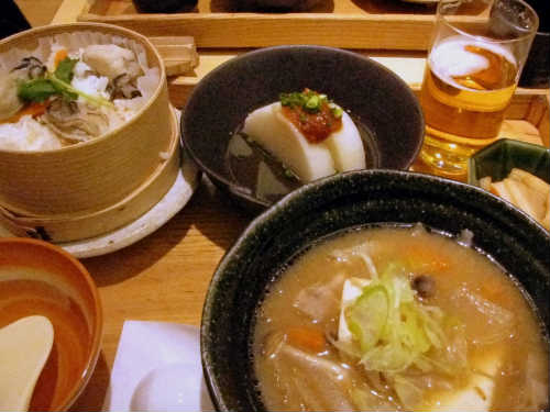 牡蠣せいろ 野菜たっぷりスープ に ねぎ味噌大根